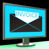 Invoice In Envelope On Monitor Showing Sending Stock Photography