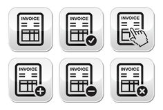 Invoice, finance  buttons set. Invoicing in company, banking grey square buttons set isolated on white Royalty Free Stock Image