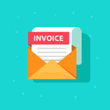 Invoice icon vector, email message received with bill document. Flat style open envelope with invoice paper blank, billing letter illustration Royalty Free Stock Image