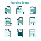 Invoice icons set in line art style, finance payment document, bill illustration.  Royalty Free Stock Photos