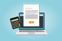 Invoice invoicing online service pay Royalty Free Stock Photos