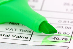 Invoice and marker Royalty Free Stock Photo