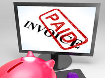 Invoice Paid Stamp Shows Payment Of Bills Royalty Free Stock Image
