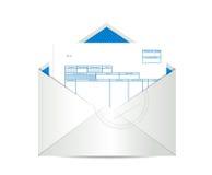 Invoice receipt inside mailing envelope. Illustration design over a white background Royalty Free Stock Image
