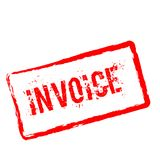 Invoice red rubber stamp isolated on white. Invoice red rubber stamp isolated on white background. Grunge rectangular seal with text, ink texture and splatter Royalty Free Stock Photo