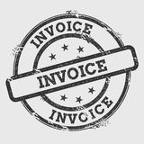 Invoice rubber stamp isolated on white background. Grunge round seal with text, ink texture and splatter and blots, vector illustration Stock Photo