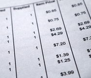 Invoice. Shopping bill invoice close up royalty free stock photography