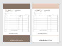Business invoice templates Stock Image