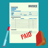 Invoice vector bill with red paid stamp close-up realistic illustration. Stock Images