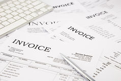 Invoices and bills. Close-up difference invoices and bills, paperwork at office, concept and ideas Stock Photography