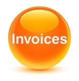 Invoices glassy orange round button Stock Images