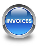 Invoices glossy blue round button Stock Image
