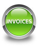 Invoices glossy green round button Stock Photography