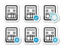Invoice, finance vector icons set Royalty Free Stock Images