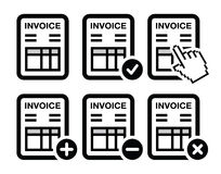 Invoice, finance  icons set Royalty Free Stock Photography