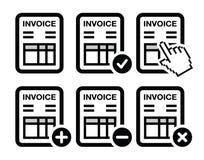 Invoice, finance  icons set. Invoicing, banking black icons set isolated on white Royalty Free Stock Photography