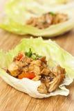 Involucri asiatici casalinghi della lattuga del pollo Fotografia Stock