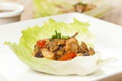 Involucri asiatici casalinghi della lattuga del pollo immagini stock libere da diritti