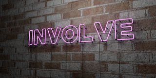 INVOLVE - Glowing Neon Sign on stonework wall - 3D rendered royalty free stock illustration Royalty Free Stock Images