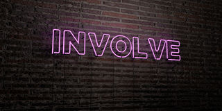 INVOLVE -Realistic Neon Sign on Brick Wall background - 3D rendered royalty free stock image. Can be used for online banner ads and direct mailers Royalty Free Stock Images