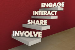 Involve Share Interact Engage Steps. 3d Illustration Royalty Free Stock Photography