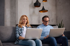 Involved mature partners using laptops and typing indoors Royalty Free Stock Photo