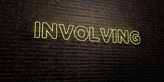 INVOLVING -Realistic Neon Sign on Brick Wall background - 3D rendered royalty free stock image Royalty Free Stock Image
