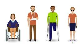 Inwalidzcy ludzie Grupa nieważni mężczyzna i kobiety na białym tle ilustracji