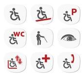 Inwalidzki ikona set Fotografia Royalty Free