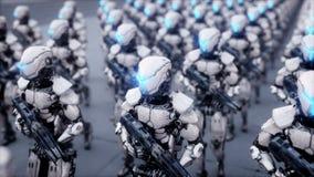 Inwazja militarni roboty Dramatycznego apocalypse super realistyczny pojęcie przyszłość 4K animacja