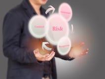Inwestor considering zarządzanie ryzykiem proces na Wirtualnym scr Zdjęcie Stock