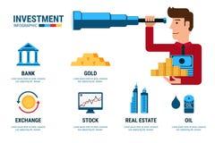 Inwestorski Infographics Biznesmen używa teleskop patrzeje dla inwestyci Obrazy Stock