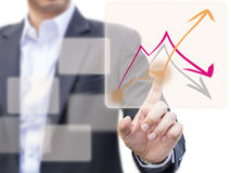 Inwestorski planowanie z wykresem czynniki na ekranie Obrazy Royalty Free