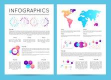 Inwestorskie analityka z różnorodnym infographics royalty ilustracja