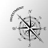 Inwestycja pisać na boku kompas Obraz Stock