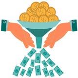 Inwestycje wzrastają kapitał Dolarowe złociste monety royalty ilustracja