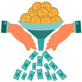 Inwestycje wzrastają kapitał Dolarowe złociste monety Fotografia Royalty Free