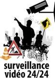 Inwigilaci kamera i ochrony pojęcie - Zamyka w górę inwigilaci cctv kamery na bramie budów ludzie z racy światłem Zdjęcie Stock
