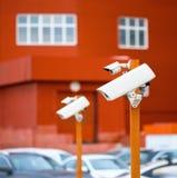 Inwigilacj kamery w parking obrazy royalty free