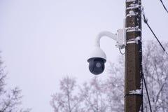Inwigilacji kamery na słupie w górę zdjęcie royalty free