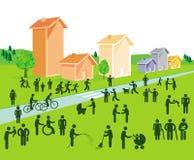 Inwoners van geïllustreerde gemeenschap vector illustratie