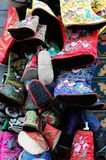 Inwrought shoes. Chinese inwrought shoes with different colors Stock Photo