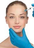 Inyección cosmética del botox Imágenes de archivo libres de regalías