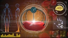 Inyección nana del robot y del glóbulo Futuro anatómico del concepto médico ilustración del vector