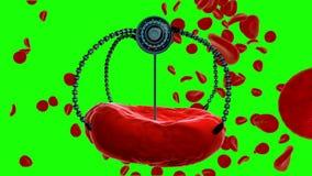 Inyección nana del robot y del glóbulo Futuro anatómico del concepto médico Cantidad verde de la pantalla stock de ilustración