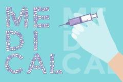 Inyección Vacunación con el fondo colorido de las cápsulas de las tabletas de las píldoras Fotos de archivo