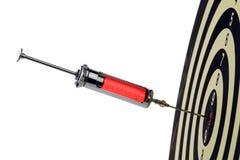Inyección de la jeringuilla en la blanco Fotos de archivo