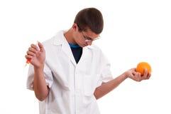 Inyección en las frutas. Fruta genético modificada Imagen de archivo