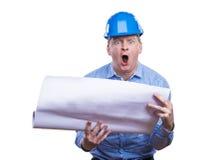Inżynier w błękitnym hełmie Obraz Stock