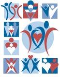 Inzameling 10 van de Emblemen van mensen Stock Foto